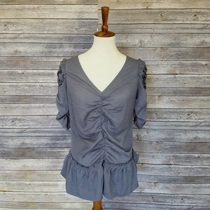 New A is for AUDREY gray v-neck blouse